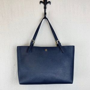 NEW! TORY BURCH Emerson Saffiano Navy Leather Tote